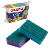Губки для мытья посуды ЛАЙМА 2,6х8х5,3 мм, чистящий слой, (5шт./уп.) (К0014) (601555)