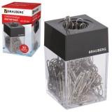 Диспенсер для скрепок BRAUBERG , магнитный, с 30 скрепками, пластиковый (225189)