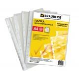 Файлы А4 BRAUBERG, 0,030мм, 100шт/уп., вертикальные,