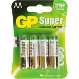 Элемент питания (батарейка алкалиновая) GP SUPER LR06 (АА), (4 шт. на блистере) (ЦЕНА ЗА 4шт.) (GPPC