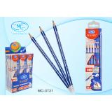 Карандаш чернографитный BASIR, HB=2, с ластиком, деревянный, синий корпус, с европодвесом (MC-3731)