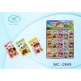 Ластик BASIR с иллюстрациями-медвежата, в ассортименте 5 цветов 4,0*2,3 см  (МС-2949)