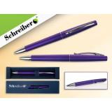 Ручка шариковая металлическая SCHREIBER, в футляре, фиолетовый корпус, синяя (24/480) (S 3521)