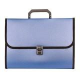 Портфель А4 inФОРМАТ, 700 мкм, пластиковый, 13 отд.+замок+ручка, синий (6) (NL6213B) (052480)