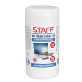 Салфетки для монитора STAFF, чистящие,10х12 см, туба 100 шт (512657)