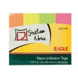 Закладки бумажные EAGLE, с липким слоем, 4цв., 15мм, 40шт, неон (25/100/1000) (659-4N) (057254)