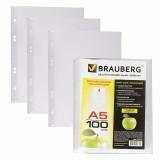 Файлы А5 BRAUBERG, 35мкм, 100шт/уп., вертикальные (221714)