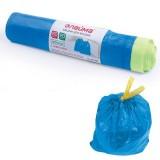 Пакеты для мусора ЛАЙМА, 60л, 20шт., синие, 55х62см, 12мкм, с завязками, ПНД (601397)
