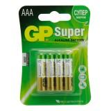 Элемент питания (батарейка алкалиновая) GP SUPER LR03 (ААA), (4 шт. в блистере) (Цена за 4 шт.) (GPP