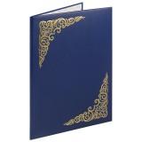 Папка адресная А4 STAFF, бумвинил с виньеткой, синяя (129582)