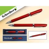 Ручка шариковая металлическая SCHREIBER, в футляре, красный  корпус, синяя (24/480) (S 3530)