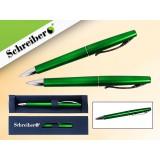 Ручка шариковая металлическая SCHREIBER, в футляре, зеленый  корпус, синяя (24/480) (S 3522)