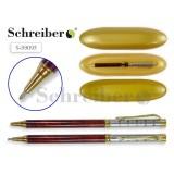Ручка шариковая автоматическая SCHREIBER, повор. механизм, зол.пласт. футляр (S99095)