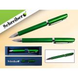 Ручка шариковая металлическая SCHREIBER, в футляре, зеленый  корпус, синяя (24/480) (S 3531)