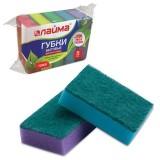 Губки для мытья посуды ЛАЙМА 27х96х64 мм, чистящий слой, (5шт./уп.) (601554)