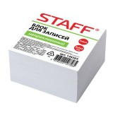 Блок белой бумаги для заметок STAFF, 90х90х50мм, белизна 90-92%, куб, не проклеенный (126364