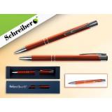Ручка шариковая металлическая SCHREIBER, в футляре, оранжевый  корпус, синяя (24/480) (S 3551)