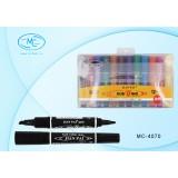 Набор маркеров перманентных BASIR, 12 цветов (2 сторон. скошен.5,0mm/пулевид.2,0mm) (MC-4070-12)