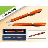 Ручка шариковая металлическая SCHREIBER, в футляре, оранжевый  корпус, синяя (24/480) (S 3533)