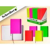 Записная книжка SCHREIBER, 200 стр.,13*18см, 4цв. в ассортименте, 16 шт. в дисплеи, неон, клетка, вн