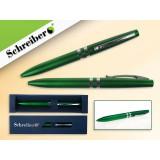 Ручка шариковая металлическая SCHREIBER, в футляре, зеленый  корпус, синяя (24/480) (S 3515)