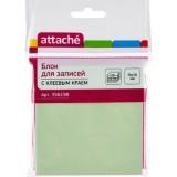 Блок бумаги для заметок ATTACHE, с липким слоем, 76х76мм/100л, салатовый (1/12/216) (356198)