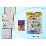 Коврик-раскраска BASIR ПВХ-ткань 83*70 см, 6 восковых мелков (МС-4678)