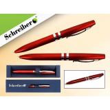 Ручка шариковая металлическая SCHREIBER, в футляре, красный  корпус, синяя (24/480) (S 3516)