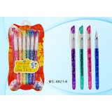 Набор гелевых ручек BASIR для ТАТУ с блетсками, наклейки-трафареты, 6 цветов (10/144) (МС-4921-6)