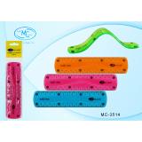 Линейка пластиковая BASIR, 15см, гибкая,  ассорти (1/864) (МС-3514)