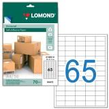 Этикетки самоклеющиеся LOMONDl, 65 шт. на листе А4, 38х21,2мм., белая (50 листов) (2100215) (121867)