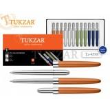 Ручка шариковая SCHREIBER, трансформер, металлическая, корпус-хром, цветной колпачок, синяя, 4 цв., ассорти (TZ 4598)