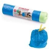 Пакеты для мусора ЛАЙМА, 30л, 20шт., синие, 50х60см, 12мкм, с завязками, ПНД (601395)