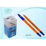 Ручка шариковая BASIR, желтый корпус с синим колпачком, синяя (50/2400) (051/син./)