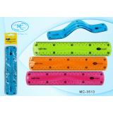 Линейка пластиковая BASIR, 20см, гибкая,  ассорти (1/864) (МС-3513)