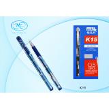 Ручка гелевая BASIR, 0,5 мм, серебристый корпус, синяя (12/864) (К15/син.)
