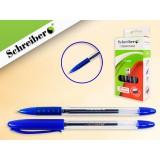 Ручка гелевая SCHREIBER, прозрачный корпус, резиновый держатель, синяя (24/720) (S 485)