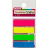 Закладки пластиковые ATTACHE, с липким слоем, 12ммх45мм, 4цв. по 25л. (692950)