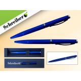 Ручка шариковая металлическая SCHREIBER, в футляре, синий  корпус, синяя (24/480) (S 3542)