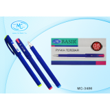 Ручка гелевая BASIR, 0,5 мм, цветной корпус, синяя (12/864) (МС-3486/син.)