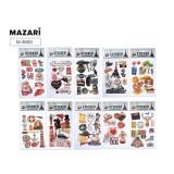Наклейки декоративные MAZARI 3D, 12,5 х 25,5 см, 10 дизайнов (M-8680)