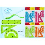 Набор линеек пластиковых BASIR,  гибкий (линейка 15см, треугольник, транспортир) ассорти (192) (МС-3