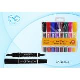 Набор маркеров перманентных BASIR, 8 цветов (2 сторон. скошен.5,0mm/пулевид.2,0mm) (МС-4070-8)