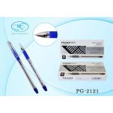 Ручка гелевая PIANO, 0,5 мм, прозрачный корпус, резин. держатель, синяя (12/864) (PG-2121/син.)