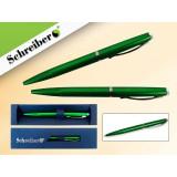 Ручка шариковая металлическая SCHREIBER, в футляре, зеленый  корпус, синяя (24/480) (S 3543)