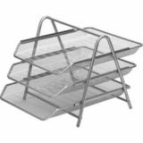 Лоток горизонтальный ATTACHE, тройной, металлический, серый (1/10) (383303)
