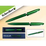 Ручка шариковая металлическая SCHREIBER, в футляре, зеленый  корпус, синяя (24/480) (S 3525)