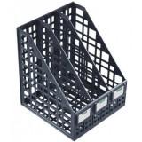 Лоток вертикальный СТАММ, пластиковый, сборный на 3 отд., черный (17) (ЛТ81)