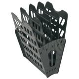 Лоток вертикально-горизонтальный СТАММ, пластиковый, 5ти секционный на 4 отд., черный (14) (ЛТ91)
