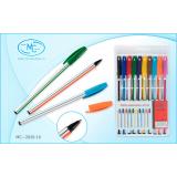 Набор шариковых ручек BASIR, белый пластиковый корпус, 10цв.(1/288) (МС-2020-10)